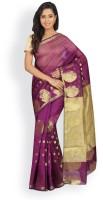 Pavechas Solid Maheshwari Cotton, Polycotton Saree(Purple)