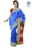 Tantuja Solid Fashion Handloom Silk Saree(Blue)
