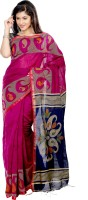 B3Fashion Woven Tant Handloom Silk Saree(Pink, Blue)