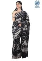Tantuja Printed Fashion Handloom Silk Saree(Black, White)