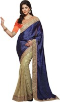 Khushali Self Design, Embellished, Embroidered Fashion Georgette, Jacquard Saree(Beige, Blue, Orange)