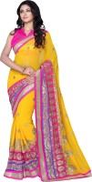 Khoobee Self Design, Embroidered, Embellished Fashion Poly Georgette Saree(Purple, Pink, Yellow)