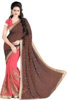 Jiya Self Design, Embroidered, Embellished Fashion Cotton Blend, Poly Georgette Saree(Brown, Pink)