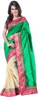 Weavedeal Embellished, Self Design Banarasi Banarasi Silk Saree(Green)