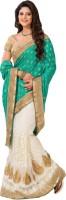 M.S.Retail Embroidered Fashion Crepe Saree(Green, White)