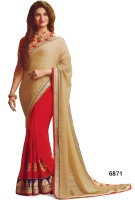 Sarees House Self Design, Embroidered Bollywood Pure Georgette, Pure Chiffon Saree(Beige, Red)