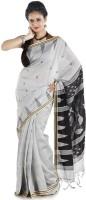 Hawai Self Design Tant Cotton Saree(Silver, Black)