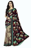 Khoobee Floral Print Fashion Poly Georgette Saree(Multicolor, Purple)