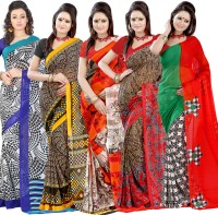 Lookslady Printed Fashion Georgette Saree(Pack of 5, White)