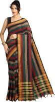 Pavechas Striped Mangalagiri Cotton Saree(Multicolor)