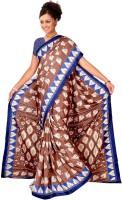 Jiya Printed Fashion Poly Silk Saree(Brown, Blue)