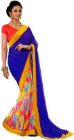 Rozdeal Printed Fashion Georgette Saree(Blue, Yellow)