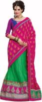 Admyrin Self Design Lehenga Saree Net, Crepe, Jacquard Saree(Green, Pink)