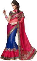 Triveni Self Design Lehenga Saree Net Saree(Blue)