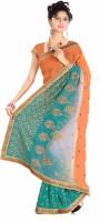 Khoobee Embroidered Fashion Poly Georgette Saree(Orange)