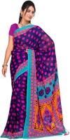 Jiya Self Design, Printed Daily Wear Poly Georgette Saree(Multicolor, Dark Blue)