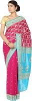 Zain Textiles Woven Banarasi Handloom Pure Chiffon Saree(Pink, Blue)