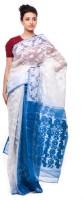 Purabi Woven Jamdani Handloom Cotton Saree(White, Blue)