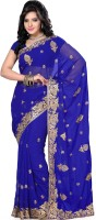Saree Swarg Self Design Bollywood Georgette Saree(Blue)