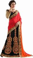 Aasvaa Self Design Lehenga Saree Jacquard Saree(Black)