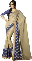 Vishal Printed, Embroidered Fashion Chiffon Saree(Beige)