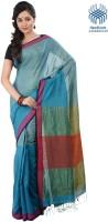 Tantuja Solid Tangail Handloom Cotton Saree(Light Blue)