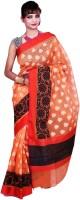 Banarasi Silk Works Embroidered Banarasi Silk Cotton Blend Saree(Orange)