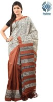 Tantuja Self Design Murshidabad Handloom Silk Saree(Brown)