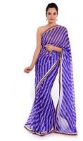 Geroo Embellished Leheria Georgette Saree(Purple)