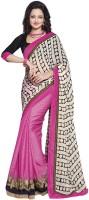 Lookslady Polka Print Fashion Chiffon Saree(Pink)