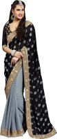 Khoobee Self Design Fashion Satin Saree(Grey, Black)