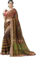 Khoobee Self Design, Embroidered, Embellished Fashion Georgette Saree(Brown, Pink)
