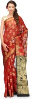 Bunkar Self Design Banarasi Cotton Saree(Maroon, Multicolor)