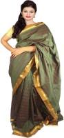 Javuli Woven Madurai Handloom Silk Cotton Blend Saree(Green)