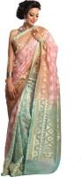Kataan Bazaar Woven Banarasi Handloom Net Saree(Pink)