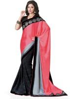 Saara Solid Fashion Chiffon Saree(Black, Pink)