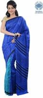 Tantuja Printed Fashion Handloom Silk Saree(Dark Blue)