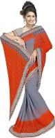 Khoobee Printed Fashion Poly Georgette Saree(Orange, Grey)