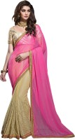 Khoobee Self Design, Embroidered, Embellished Fashion Chiffon Saree(Pink, Beige)