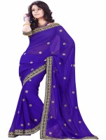 Sourbh Sarees Self Design Fashion Synthetic Georgette Saree(Purple)