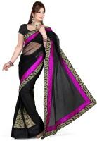 De Marca Printed Fashion Net Saree(Black, Pink)