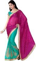 Khoobee Self Design, Embroidered, Embellished Fashion Cotton Blend, Poly Georgette Saree(Green, Pink)