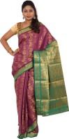Alankrita Self Design Kanjivaram Art Silk Saree(Purple, Green)