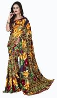 Jiya Self Design, Printed Fashion Poly Georgette Saree(Multicolor, Dark Blue)