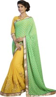 Khoobee Self Design, Embroidered, Embellished Fashion Cotton Blend, Chiffon Saree(Light Green, Yellow)
