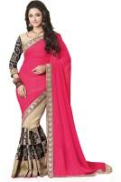 Saara Self Design, Solid Fashion Pure Georgette Saree(Beige, Pink)