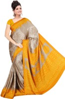 Khoobee Geometric Print Fashion Poly Crepe Saree(Brown, Yellow)