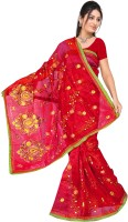 MGS Self Design Fashion Net Saree(Red)