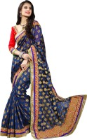 Khoobee Self Design Fashion Jacquard Saree(Blue)