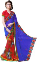 Vastrani Embroidered Fashion Georgette Saree(Red, Blue)